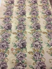 100% Cotton Fabric By Half Metre Striped Trailing Rose Purple Floral