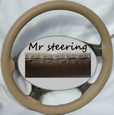 FOR MERCEDES S CLASS W220 98-05 REAL BEIGE ITALIAN LEATHER STEERING WHEEL COVER