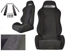 1 PAIR BLACK CLOTH + BLACK STITCH RACING SEAT ALL BMW NEW