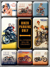 Biker parking only Triumph Ducati Kühlschrank Magnet-Set 9-tlg Tin Sign MAG07