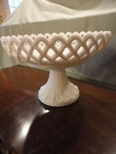FENTON LACY EDGE Milk Glass Open Edge Lattice Daisy Base Compote 9-3/4w Vintage