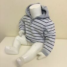 Little White Company Childrens White Stripe Knitted Button Hood Top 12-18 Months