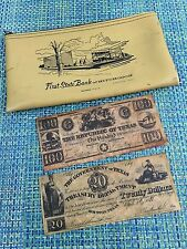 VTG Bank Coin/Deposit Bag - First State Bank HITCHCOCK TX W/ REPRODUCTION BILL