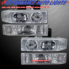 1995-2005 GMC SAFARI VAN EURO CLEAR 1PCS HEADLIGHTS + PARK SIGNAL BUMPER LIGHTS