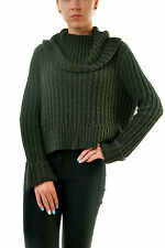 Free People Women's Twisted Cable Turtleneck Knit Sweater Green RRP £85 BCF69