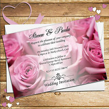 10 Personalised Elegant Pink Roses Wedding Day Evening Invitations Invites N52