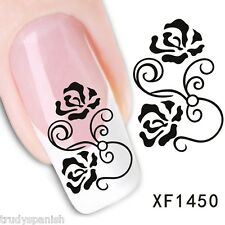 Nail Art Water Decals Transfers Black Rose Flowers UV Tips Decoration (1450)