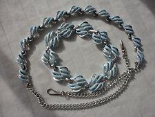 Vintage signed JEWELCRAFT blue enamel demi parure 22 gram bracelet + necklace