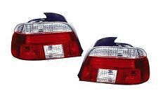 BMW 5 Series E39 Saloon 1996-2000 Crystal Clear/Red Rear Tail Lights Pair
