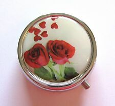 Pill Box Container- round -roses & hearts red green white 3 compartments mirror