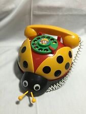 VINTAGE BEETLE ROTARY DIAL UP PLASTIC TOY TELEPHONE PULL TOY 121715