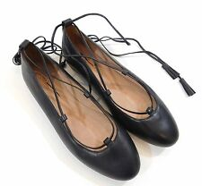 NEW Madewell for J Crew Inga Lace up Flats in Leather Black 8 F5057 $108 Shoes