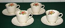 (4) 1900 Copeland Spode Alden (S2280) 8 oz Cup & Saucer Sets  Very Good Condit.