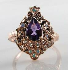 LARGE 9CT 9k ROSE GOLD AMETHYST OPAL DIAMOND LONG VICTORIAN INS RING FREE RESIZE