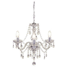 Shabby Chic 3 Light Fitting Ceiling Chandelier Clear Crystal Beads Marie Therese