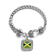 Inspired Silver Jamaican Flag Charm Braided Bracelet