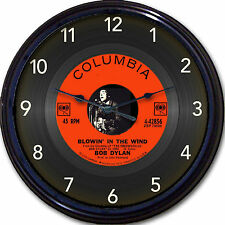 Bob Dylan Blowin' in the Wind Wall Clock Retro Image of Vinyl 45 RPM Record 10""