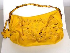Jessica Simpson Flower Garden Hobo Satchel Bag Purse Yellow Floral Cutout Woven