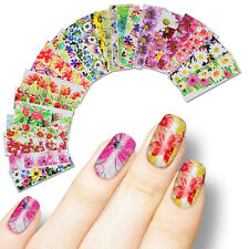 50 Sheets Flowers Nail Art Water Decal Various Manicure Transfer Sticker Set