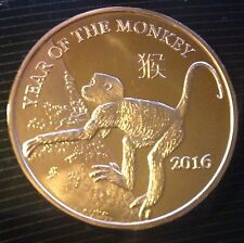 1 OZ COPPER ROUND 2016 CHINESE YEAR OF THE MONKEY WITH CALENDAR REVERSE