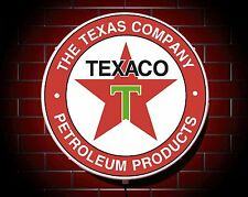 TEXACO LED 600mm ILLUMINATED WALL LIGHT CAR BADGE GARAGE SIGN LOGO MAN CAVE
