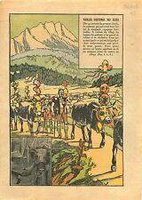 Vaches d'Hérens Eringer Parures Alpes Bergers Suisse Schweiz 1932 ILLUSTRATION