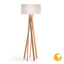 Design Stehlampe Tripod Leuchte Buche Holz Lampe H=160cm Stativ Stehleuchte Weiß