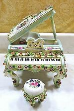 "PORCELAIN BABY GRAND PIANO & BENCH DRESDEN STYLE MUSIC BOX CLASSIC  ""FUR ELISE"""