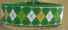 ARGYLE Green & Yellowl MARTINGALE DOG COLLAR LEAD ITALIAN GREYHOUND CHIHUAHUA