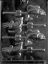 FISH LOLLY POP mold candy chocolate dad bass birthday fathers day gone fishing