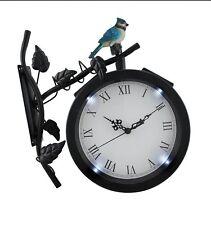 Alpine Wall Solar Clock with Bird on Branch Light Living Room Black Station