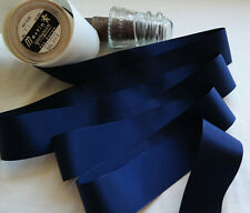 "10 yard 2"" wide vintage roll grosgrain navy blue ribbon hat dress rayon 104"