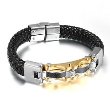 Men's Fashion Jewelry Genuine Leather 316L Stainless Steel Bracelet Silver Gold