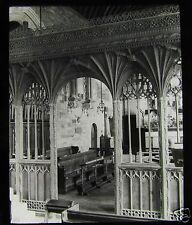 Glass Magic Lantern Slide WEST ALVINGTON CHURCH CHOIR SCREEN C1900 DEVON