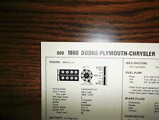 1968 Dodge Plymouth Chrysler A134 HiPo 375 HP 440 SUN Tune Up Chart Great Shape!