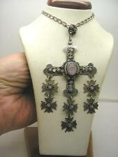 Genuine Old Mexico Hand Made Yalalag Silver Cross With Rose Quartz Ogl Chain