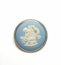 Vintage London 1972 Sterling Silver WEDGWOOD CAMEO CHERUB JASPERWARE BROOCH 7.6g