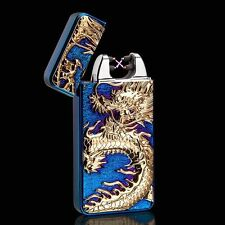 Blue Chinese Dragon Electric Dual Arc Flameless Rechargeable Windproof Lighter
