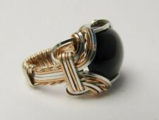 Handmade Vintage Victorian 14kt Gold Filled/Silver Wire Wrap Black Onyx Ring