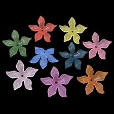 50pcs Mixed Color Dyed Transparent Frosted Acrylic Flower Beads Diy X-PL594
