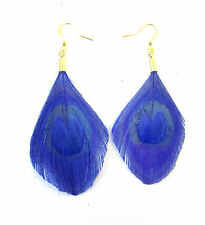 Royal Blue Gold Trimmed Peacock Feather Earrings Drop Hook Vintage 1920s 30s 898