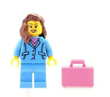 LEGO Business Girl Female Office Worker Minifig & Pink Case NEW