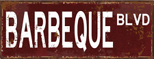 BBQ Blvd Metal Street Sign, Patio Décor, Outdoor Living, Kitchen Décor
