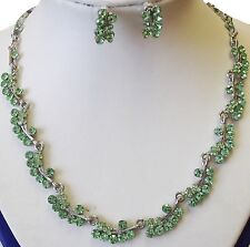 Peridot Austrian Crystals Necklace with Stud Earrings 16in