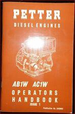 Petter Dieselmotoren Gebrauchsanweisung und Ersatzteilliste AB 1 W , AC 1 W