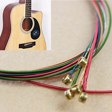 1 Set 6 pcs Stainless Steel Rainbow Color Strings for Acoustic Guitar