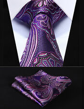 """TP923P8S Purple Pink Paisley 3.4"""" Silk Woven Men Tie Necktie Handkerchief Set"""