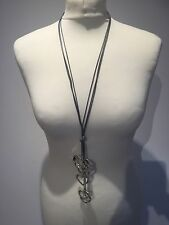 Long Grey  Chain Necklace With Xl Silver Heart Pendants Boho Large Lagenlook
