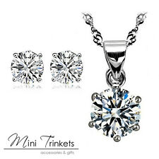 Solitaire 925 Silver Cubic Zirconia Necklace And Stud Earrings Set Bride Women