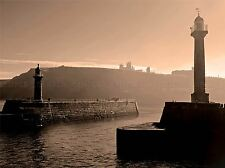 CULTURAL INDUSTRIAL LANDSCAPE WHITBY LIGHTHOUSE SEPIA RUIN ABBEY POSTER BB675A
